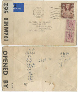 GB KGVI 1940 censored cover Nottingham to Buenos Aires, Argentina 2/6 + 6d pair