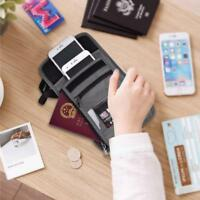 Fashion Travel Pouch RFID Block Purse Neck Wallet Card Money Passport Holder SD