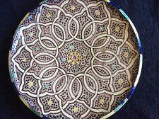 Rare Grand Plat Faïence de Fes Terre Vernissée Maroc19eme ou Avant Diam 41 cm
