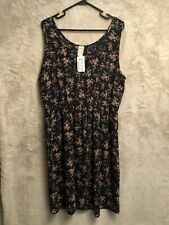 Debshops Womens Plus Size 3X Dress Sleeveless Floral Navy Lilian Brand New