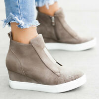 Womens Hidden Wedge Heel Sneakers Trainers Casual High Top Ankle Boots Shoes Hot