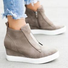 Women Loose Mesh Zip Up Heel Sneaker Platform Round Toe Casual Ankle Midi Boots