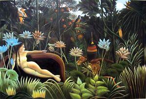 "Henri Rousseau The Dream Giclee Canvas Print size 24""x36"""