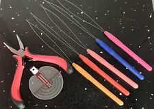 1 CERCHIO tirare LOOP PER Micro Anelli + PINZA + cuoio capelluto guida STICK TIP Hair Tools