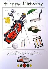 GOLF GIFT - HAPPY BIRTHDAY GREETING CARD WITH BAG BALL CAP SHOE UMBRELLA CLUB