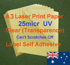 200 X A3 Clear UV 25micr Label Adhesive Sticker Laser Print paper (transparence)
