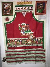 Christmas Fabric Panel APRON Apples & Ginger Gingerbread Family