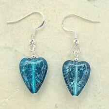 Heart Earrings Sterling Silver Hooks Teal Green Crackle Glass Love Hearts LB384