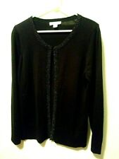 Coldwater Creek Cardigan 14-16 Black Embellished Sz Large long sleeve SILK BLEND