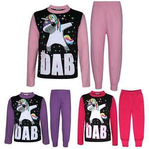 Kids Girls Pyjamas Dabbing Unicorn #Dab Floss Lounge Wear Nightwear PJS 5-13 Yrs