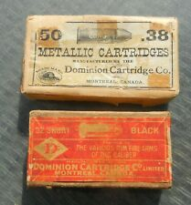 Vintage Dominion very old .32 Short & .38 Long top (with Beaver logo) ammo boxes