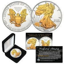 2020 American .999 Silver Eagle 1 oz Coin SELECT 24KT GOLD Gilded 2-Sided w/BOX