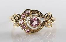 CLASS 9K 9CT GOLD SUN MOON PINK TOURMALINE & DIAMOND ART DECO INS RING FREE SIZE