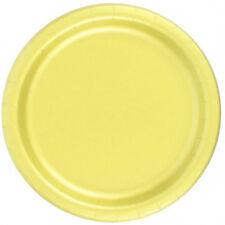 "72 Plates 6 7/8"" Paper Dessert Plates Wax Coated - Yellow"