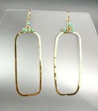 Exquisite Artisanal Gold Rectangle Blue Turquoise Beads Earrings B47