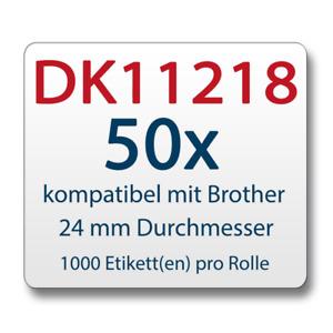 50xEtiqueta comp. con Brother DK11218 24mm de diámetro 1000etiquetas +1x soporte