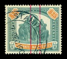 MALAYA MALAYSIA 1909 ELEPHANT $25 dark green WMK MULTI CROWN CA USED STAMP