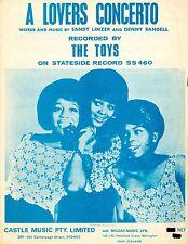 THE TOYS - A LOVER'S CONCERTO - VINTAGE SHEET MUSIC - AUSTRALIA (RARE)