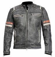 Men's Retro 2 Classic Vintage Cafe Racer Quilted Distressed Grey Leather Jacket
