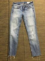 Rag Bone Adult Womens 24 Dre Capri Jeans Distressed Raw Hem Blue
