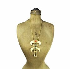 Rare Vintage Signed HMS Faux Horn Bone Tribal Statement Necklace