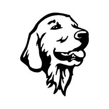 "GOLDEN RETRIEVER HEAD OL V1 (5"" BLACK) Vinyl Decal Window Sticker"