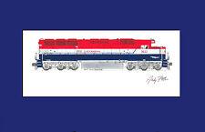"""Erie Lackawanna SD45 3632 Bicentennial 11""""x17"""" Matted Print Fletcher signed"""