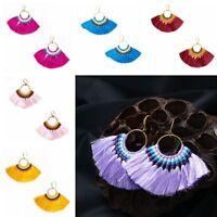 Women Party Jewelry Long Tassel Hook Earrings Fan Shape Dangle Drop