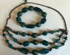 Vintage Blue & Gold Lucite Necklace & Stretch Bracelet Set