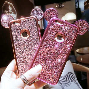 Glitter Mickey Minnie Ears Mouse Ear Phone Case/Cover For All iPhone Models UK!