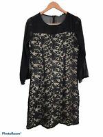 Hem & Thread Black Long Sleeve Sheer Floral Embroidered Shift Dress Large Cotton