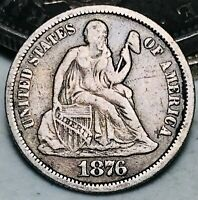 1876 Seated Liberty Dime 10c Higher Grade Choice Good Date US Silver Coin CC5515