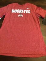 New Nike Mens Ohio State Buckeyes Short sleeve Shirt Size XL Red