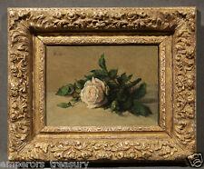 "19th Century Oil Painting signed Henri-Fantin-Latour ""White Rose"" (One of Pair)"
