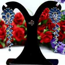 NATURAL HEATED BLUE THAILAND SAPPHIRE LONG EARRINGS 925 STERLING SILVER