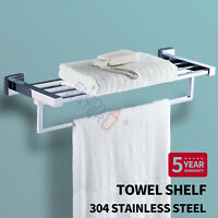 600mm Double Towel Shelf Chrome Stainless Steel 304 Wall Rack Rail Bathroom