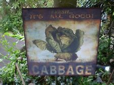 Large Cabbage Kitchenalia Sign,Potting Shed Or Garden,Wall Hanging