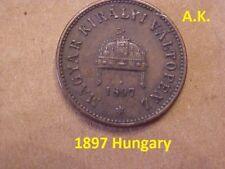 Magyar Kiralyi Valtopenz 1897 Hungary coin K.B 2