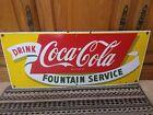 Vintage Coca-Cola Fountain Service Porcelain Sign