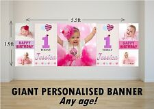 Personalised GIANT Large Happy Birthday Banner Girls 1st 2nd Heart Balloons N69