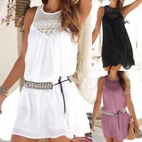 Hot Women Summer Lace Chiffon Sleeveless Beach Holiday Party Short Mini Dress UK
