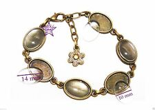 2 Pulseras 6 bases camafeo + 12 cabuchones cristal oval 10x14mm bronce abalorios