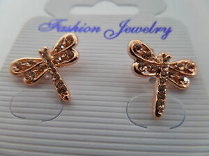 DRAGONFLY STUD EARRINGS PINK GOLD COLOUR & DIAMANTE 1.5 CM New in gift pouch