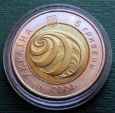 2001 Ukraine Coin 5 Hryven UAH On the Verge of Millenniums Bimetal UNC