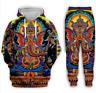 New MenWomen 3D elephant psychedelic Sweatshirt Hoodies Jogging pants Sport Suit