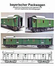 Bayerischer Packwagen zur Lok-Legende Dampflok S 3/6 1:45 Spur 0 Kartonmodell
