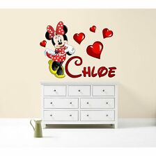 Minnie Mouse Walt Disney colour personalised any name decal wall art sticker