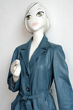 Damen Ledermantel hellblau True VINTAGE light blue leather coat 70s real leather