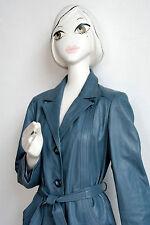 Donna Cappotto di pelle blu chiaro True Vintage Light Blue Leather Coat 70s REAL LEATHER