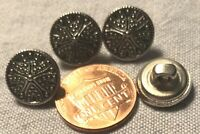"""4 Small Silver Tone Metal Shank Buttons Hollow Pointy Center 1/2"""" 12.6mm # 9407"""